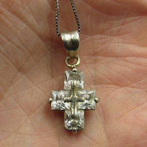 """Jewelry - 18"""" Sterling Silver Cubic Zirconia Cross Necklace"""